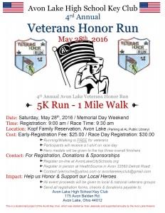 Key Club Veterans Honor Run Flyer