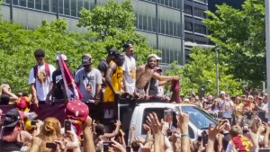 Kyrie Irving shares his joy with the fans at last week's parade through downtown Cleveland.
