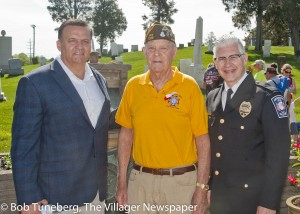Mayor Bryan Jensen, VFW Chaplain Jack Riegelsberger and Avon Police Chaplain Jeffrey Phail.