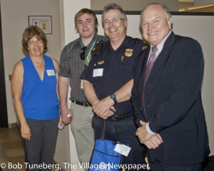 Q-Lab's Lori Foss welcomed Westlake Police Intern Nick Joughin, Captain Guy Turner and Mayor Dennis Clough.