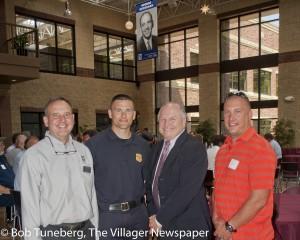 Q-Lab President Doug Grossman, Westlake Chief of Police Kevin Bielozer, Mayor Dennis Clough and Ptlm. Jason Carman.