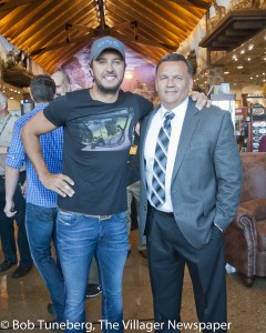 Country superstar Luke Bryan with Avon Mayor Bryan Jensen.
