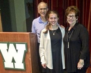 George and Alberta Marriott (Jeff's parents) present the first Jeffery Owen Marriott scholarship to Rebecca Essig at the Westlake High School Senior Awards Night this past May.