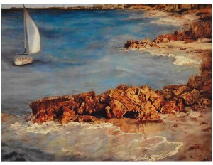 """""""Cortez Shore, Florida,"""" an oil by Phyllis Barrett, is on display at the COFA juried art show."""