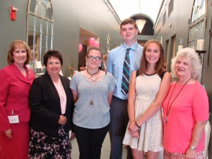 Kathie Conrad, 2nd Vice President and Luncheon Organizer; Fran Wilhelm, Club President; Scholarship Recipients Dani Miziolek, Thomas Millgard, and Theresa Tomaszyk; Mary Kay Filipiak, Scholarship Selection Committee Chairperson.