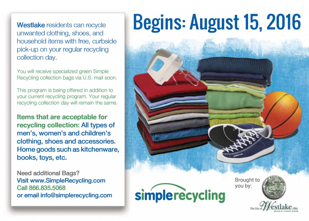 Westlake residents are receiving this postcard the week of August 1, 2016 announcing the new curbside recycling program.