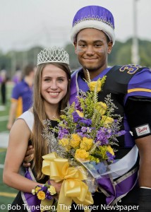 Avon High School's Homecoming Queen Madeleine Hapanowicz and King Xavier Holmes.