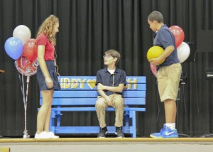 Students used role-play scenarios to reinforce ways to use the Buddy Bench.