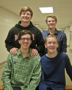 Phillip Lally, Shawn Simko; back row--Carter White, and National Merit Semi-finalist Will Huntington.