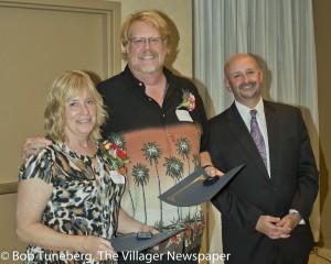 UH SJMC President Robert G. David with 40-year employees Douglas Bolen and Eileen Kinney.