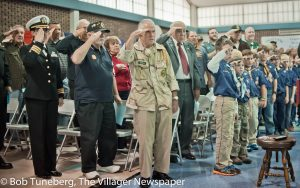 Veterans and Scouts at Holly Lane School in Westlake