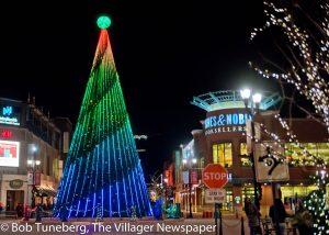 200,000 lights adorn Crocker Park's Holiday Tree and decor, all lit up for the Christmas season.