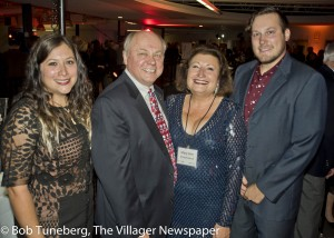 David T. Dombrowiak, President and CEO, Community West Foundation with his daughter Lauren, wife Mary Ann Dombrowiak and son Jesse, was presented with the Beck Center for the Arts 2016 Spotlight and Man of the Year Award.