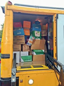 Westlake City Schools bus full of donations for May Dugan Center.