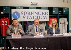 Avon Mayor Bryan Jensen, Lake Erie Crushers owner Tom Kramig and Sprenger Health Care Systems CEO Nicole Sprenger at last week's press conference announcing naming rights to the Avon ball park.