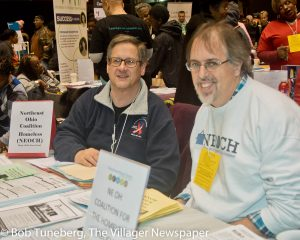 Peter Schindler, Senior Program Officer, Community West Foundation with Brian Davis, Execu-tive Director, Northeast Coalition for the Homeless (NEOCH).
