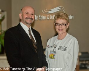 Robert G. David, UH SJMC President, and Clare Ruic, BSN, RN, CCM, Clinical Manager of the Spine & Ortho Center.