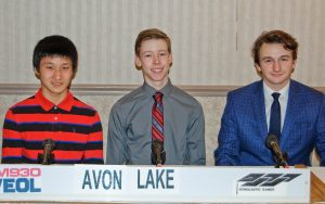 The academic team from Avon Lake High School, left to right, Irwin Deng, Connor McNeill, and Alex Petroff.