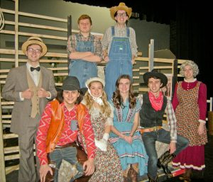 Cast members pictured left-to-right: front-- James McDermott (as Will Parker), Sarah Brumagin (as Ado Annie Carnes), Salem Stacey (as Laurey Williams), CJ Hyland (as Curly McLain), Carolyn Carter (as Aunt Eller); back-- Drew Ware (as Ali Hakim), Mark Majercik (as Jud Fry), and Phil Lally (as Andrew Carnes). More cast members at: http://bit.ly/BHSOKcast