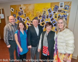 Artists Rick Grahovac and Keelie Webb (left) at the unveiling of the 'Discovering You' artwork with Edwin Oley, Mercy president and CEO; Gail Stumphauzer, Mercy board member and founder of the Free to Be Pro-ject; and Catherine Woskobnick, vice president of Mission Integration at Mercy.