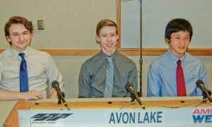 The academic team from Avon Lake High School, left to right, Alex Petroff, Connor McNeill and Irwin Deng.