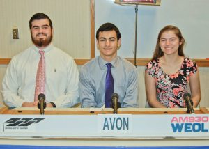 The academic team from Avon High School, left to right, Sam Gerak, Alex Stamatis and Bree Collins.