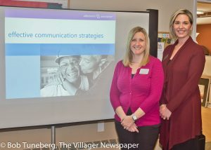 Alzheimer's Association Education and Outreach Specialist Jamie Inks, CTRS, CDP and Jamie McGinty welcomed guests to an Avon Place Lunch and Learn on memory care.