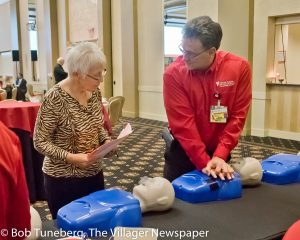 Matthew Sheehan, EMT-P, EMSI, EMS & Disaster Coordinator at UH St. John Medical Center demonstrates CPR.