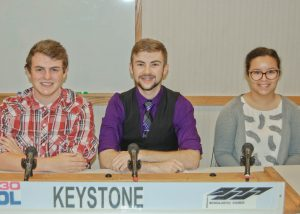 The academic team from Keystone High School, left to right, Cole Stoots, Luke Peters, and Annali Perez.