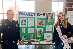 Westlake Police Dept. and Kiwanis member Rick Grane, Alyssa Gruttadauria Miss Northern Ohio's Outstanding Teen
