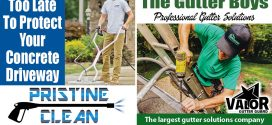 Need Gutter Cleaning? Driveway Sealing? New Gutters? Call Gutter Boys and Pristine Clean!
