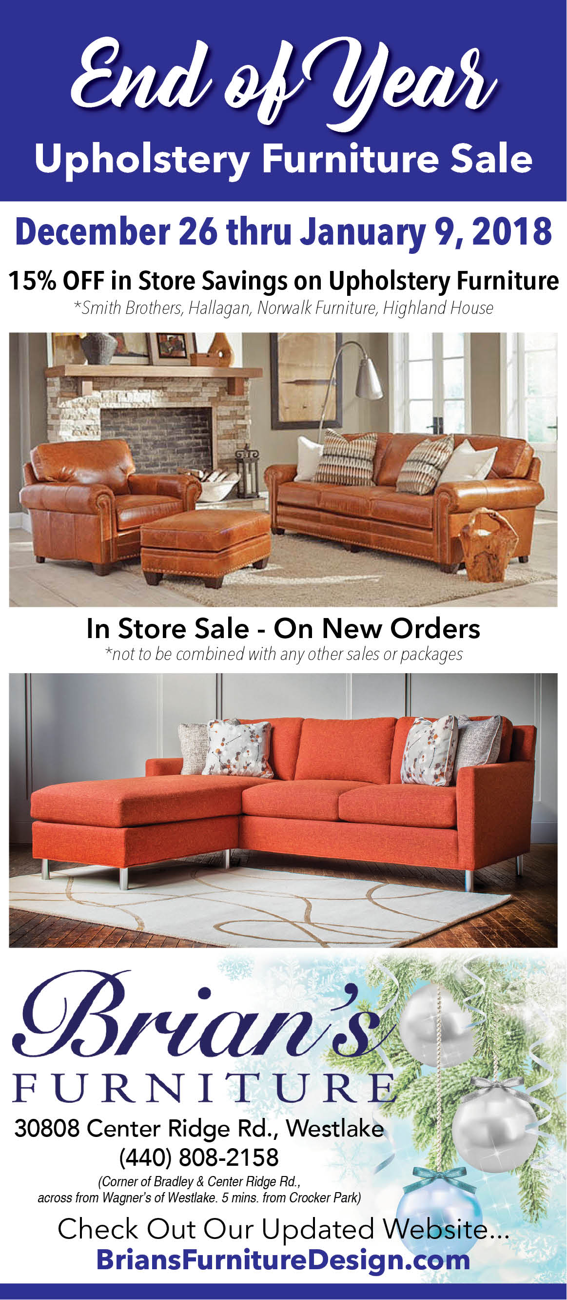 Brian S Furniture End Of Year Upholstery Furniture Sale The